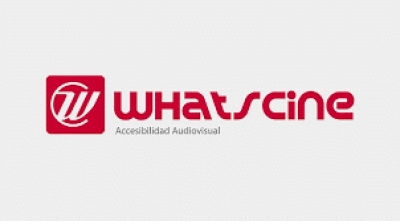 Logotipo de whatscine, accesibilidad audiovisual.